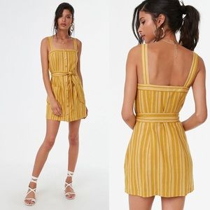 Forever 21 Yellow Striped Belted Linen Mini Dress